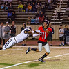Westmoore's Jaquan Richardson looks to catch the football during the Southwest Showdown football game on, Friday, September 07, 2018, at Moore Stadium.