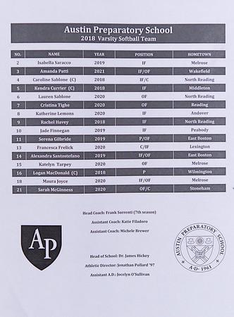 Varsity Softball: Austin Prep defeated Ipswich 11-1 in the MIAA D3 North semifinals on June 13, 2018 at Martin Field in Lowell, Massachusetts.