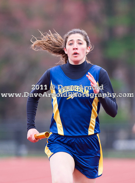 "The Walpole Boys Track Team defeated Needham 75-59 and the Walpole Girls Track Team defeated Needham 71-64 on April 19, 2011 at DeFazio Field in Needham, Massachusetts.<br /> <br /> <br /> Pictures available at:<br /> <br />  <a href=""http://www.MaxPreps.com"">http://www.MaxPreps.com</a><br /> <br /> Search by school name  ""Walpole"" or ""Needham"""