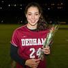 Needham Girls Varsity Soccer defeated Dedham 1-0 to win the the 300th Anniversary Cup on senior night on October 25, 2012, at Needham High School in Needham, Massachusetts.