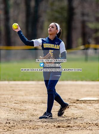 Varsity Softball: Mansfield defeated Needham 13-0 on April 18, 2018 at Needham High School in Needham, Massachusetts.