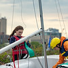 Varsity Sailing: Needham Varsity Sailing in action on the Charles River on May 10, 2018 at Community Boating Inc. in Boston, Massachusetts.