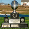 Varsity Football: In the 133rd meeting between the two teams, Wellesley defeated Needham 34-0 to win the Frederick J. Gorman Centennial Trophy on March 19, 2021 at Needham High School in Needham, Massachusetts.