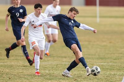 Salt Lake City, UT - Tuesday March 16, 2021: Boys Varsity Soccer. Murray at Skyline at Wasatch Jr. High School. ©2021 Bryan Byerly