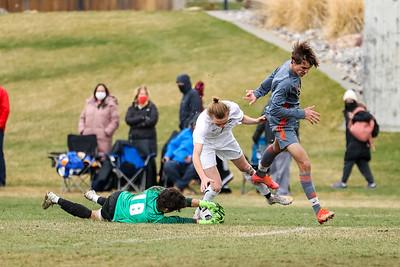 Salt Lake City, UT - Friday March 26, 2021: Boys Varsity Soccer. Skyline at Brighton at Brighton High School. ©2021 Bryan Byerly