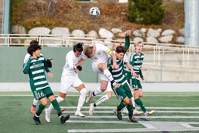 Salt Lake City, UT - Friday April 16, 2021: Boys Varsity Soccer. Skyline vs Olympus at Olympus High School. ©2021 Bryan Byerly