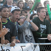 Norman North fans celebrate a Timberwolves goal  against Broken Arrow Tuesday, May 8, 2012, during a Class 6A boys soccer semifinal game. Photo by Jerry Laizure