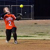 Norman High infielder Heather Jones throws the ball to first after picking up a ground ball Tuesday during the Clash softball game.<br /> Kyle Phillips/The Transcript