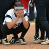 A Broken Arrow player reacts after Moore High School knocks them out of the 6A state fast pitch softball tournament Friday at the ASA Hall of Fame Stadium in Oklahoma City.  See more on the game in sports.<br /> Kyle Phillips/The Transcript