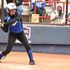 Little Axe's Reagan McDoulett (16) swings at the ball during her turn at bat during the 3A state fast pitch softball championship game Saturday at Hall of Fame Stadium in Oklahoma City.<br /> Kyle Phillips/The Transcript