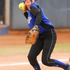 Little Axe's Aubree Branch (17) throws the ball to first after picking up a ground ball during the 3A state fast pitch softball championship game Saturday at Hall of Fame Stadium in Oklahoma City.<br /> Kyle Phillips/The Transcript
