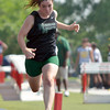 Norman North's Sarah Ex competes in the girl's 100 meter dash Saturday afternoon at the 2012 reginal track meet at Mustang High School.<br /> Kyle Phillips/The transcript