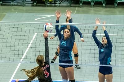 Orem, UT - Tuesday October 29, 2019: High School Girls Volleyball Tournament 4A. Juan Diego vs Bear River at UCCU Center. ©2019 Bryan Byerly