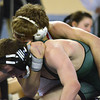 Norman North's Hayden Hanson struggles to get out of  Tulsa Union'a Luke Wolfenberger's head lock during the 126 lb match in the finals of the OSSAA 6A State Wrestling Tournament Saturday at the State Fair Arena in Oklahoma City.<br /> Kyle Phillips/The Transcript