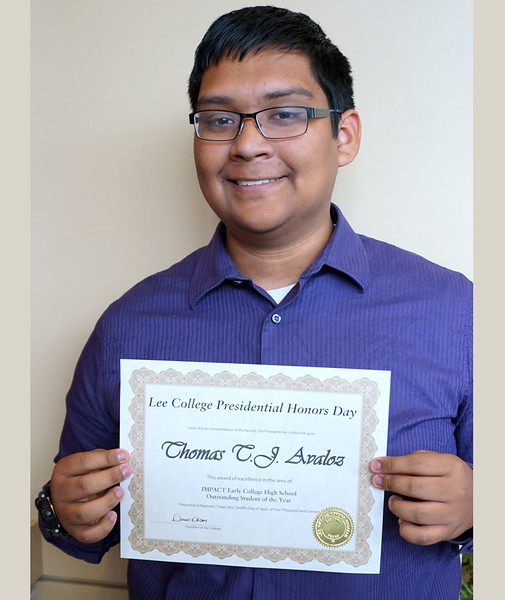 T. J. Avaloz, a senior who plans to earn his associate degree from Lee College and his high school diploma from IMPACT ECHS this year, is recognized as IMPACT ECHS Outstanding Student of the Year at the 2016 Lee College Presidential Honors Day Ceremony.