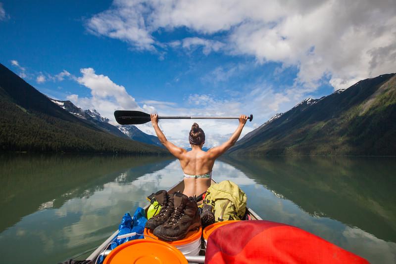 Paddling Bowron Lake Provincial Park.