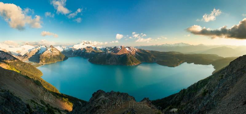 Panorama of Garibaldi Lake in Garibaldi Provincial Park, British Columbia, Canada.
