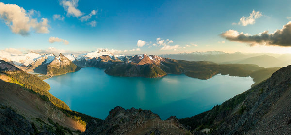 Panorama of Garibaldi Lake in Garibaldi Provincial Park, British Columbia, Canada.