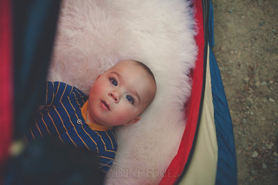 Portrait of a baby in a tent.