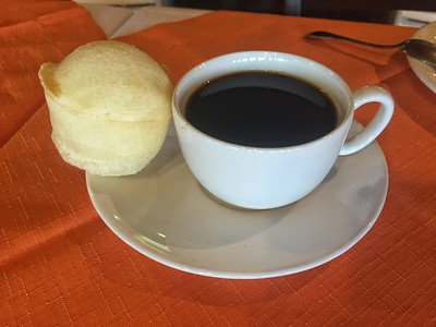 Their pão de queijo (manioc cheesebread) is tops, and coffee and hot water are always available.