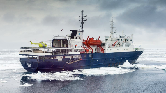 The M/V Ortelius, with helicopter on deck. Photo copyright Oceanwide Expeditions.