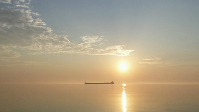 A ship passing Whitefish Point, by guide Cory Gregory