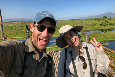 Doug Gochfeld and local guide Thiri having a little fun while birding Lake Inlay