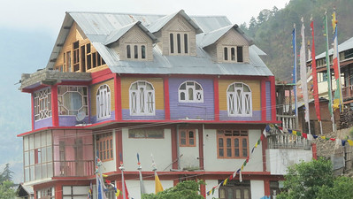 A colorful building at Diranga. Photo by guide Phil Gregory.