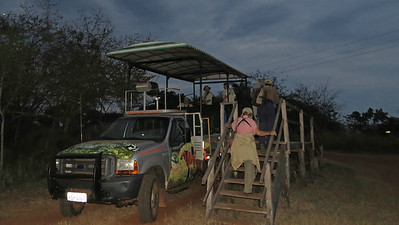 Prepping for a night drive at Fazenda Sao Francisco, by participant Merrill Lester