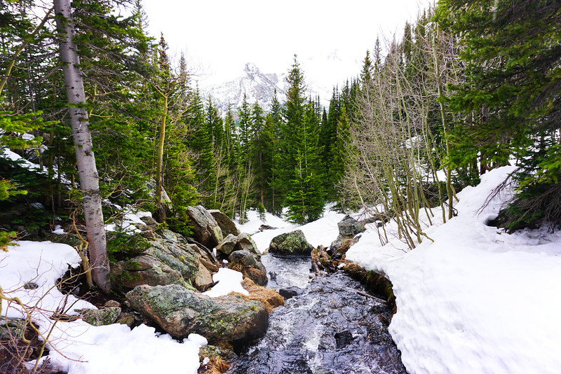 For most people, the hike along Bear Lake Trail is not that difficult. For me, having lived in Florida my entire life, I felt like I was going to freeze to death. This shot was taken on a hike to Dream Lake in the Rocky Mountains of Colorado and it was my first time seeing snow. By the time I reached the location of this photo my hands were so numb that I only made the effort to snap a photo if it was an outrageously beautiful scene.
