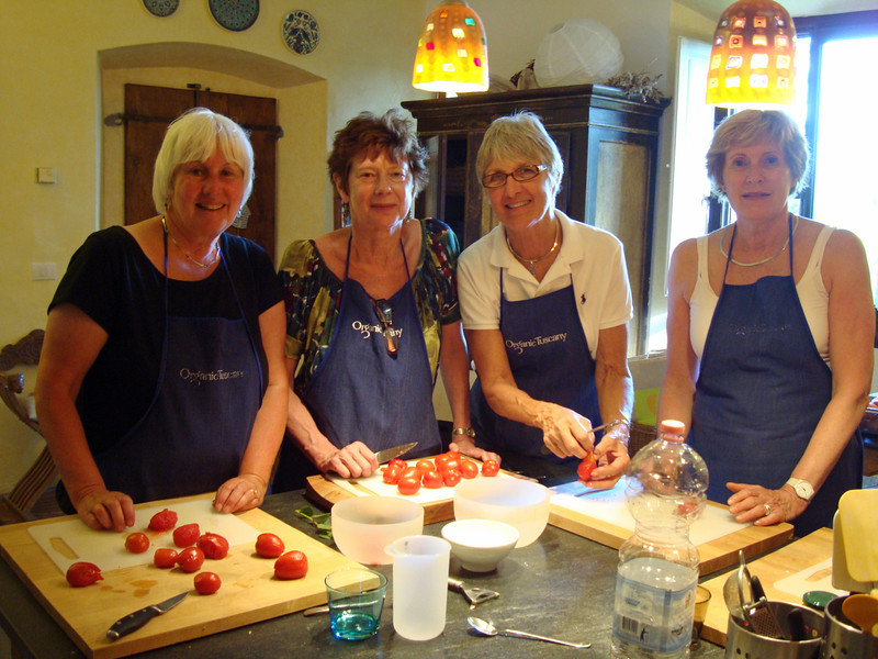 Kathy, Cindy, Kris and I at our cooking class in Chianti