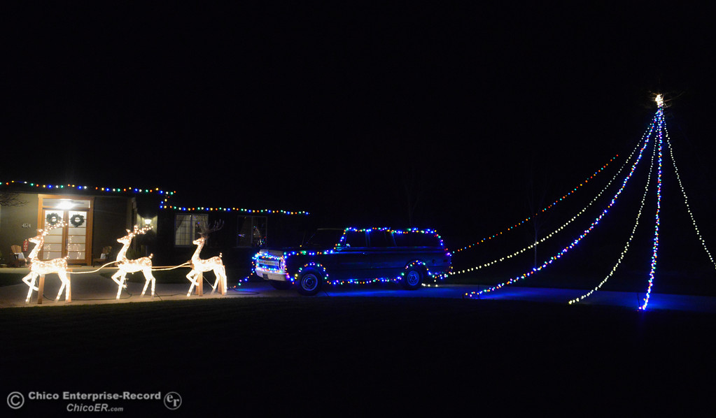 . Reindeer lead a Christmas light cover SUV in front of this house on Augusta Lane seen during this year\'s Chico Tour of Lights December 5, 2017 in Chico, California. (Emily Bertolino -- Enterprise-Record)