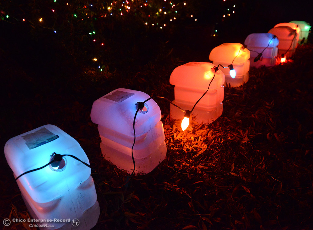 . Unique Christmas light lantern line the bushes in front of this house on Silver Lake Drive on this year\'s  Chico Tour of Lights December 5, 2017 in Chico, California. (Emily Bertolino -- Enterprise-Record)