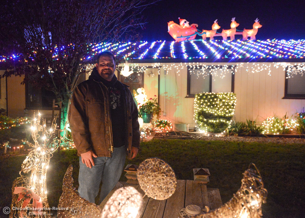 . John Riley has been decorating his home at 1360 Tehama Avenue for over 10 years and each year it gets bigger and bigger; a must see on this year\'s Oroville Tour of Lights Thursday December 7, 2017 in Oroville, California. (Emily Bertolino -- Mercury Register)