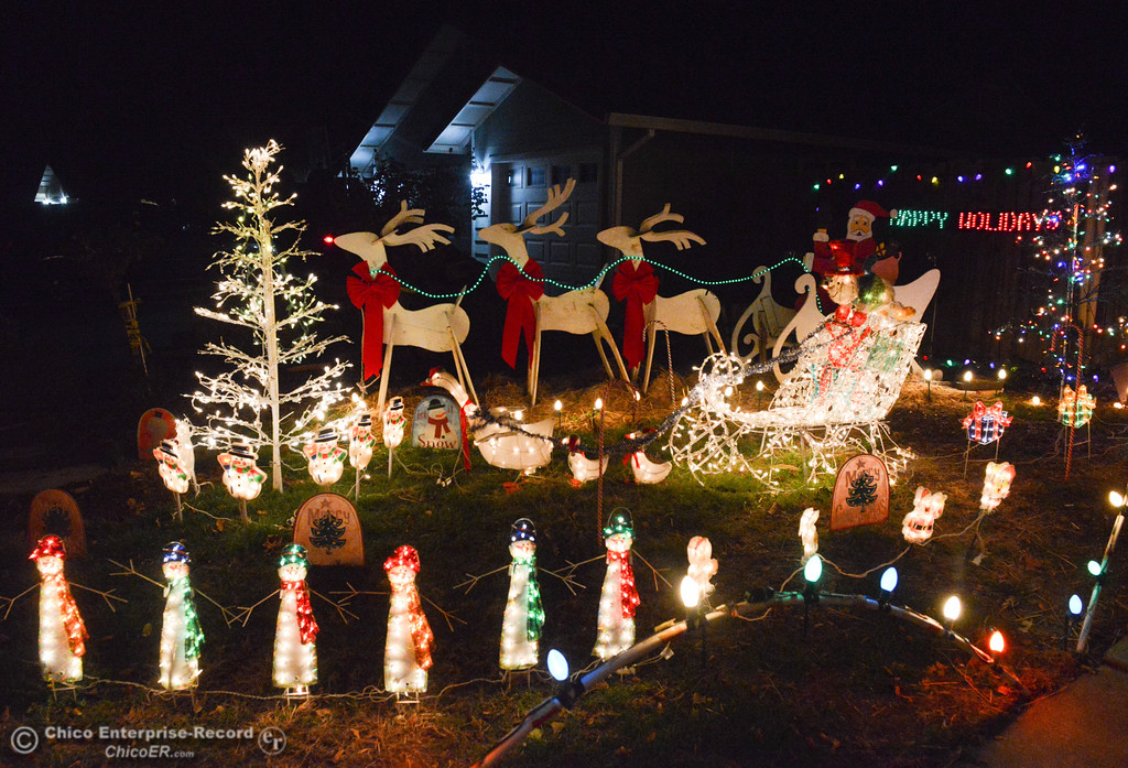 . The Tiffanys have set up their holiday home with the decorations from the famous Chico\'s Mr. Christmas family, Don and Jackie Corrie for this years Chico Tour of Lights December 5, 2017 along Cimarron Drive in Chico, California. (Emily Bertolino -- Enterprise-Record)