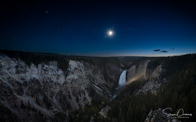Moon over Yellowstone Falls