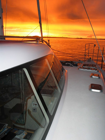 Sunset from our anchorage at West Bay, Motuihe Island, Auckland