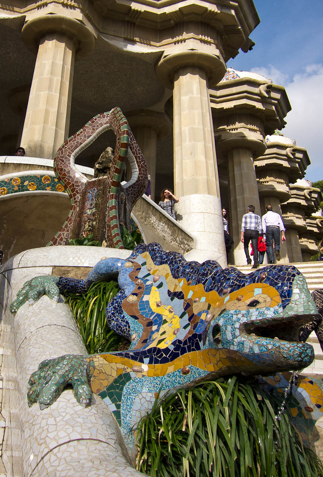 Iconic Gaudi reptile on the stairs up to the Loggia.