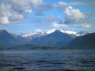 View of Mountains on Baranof Island as ADAGIO arrives Sitka, Alaska