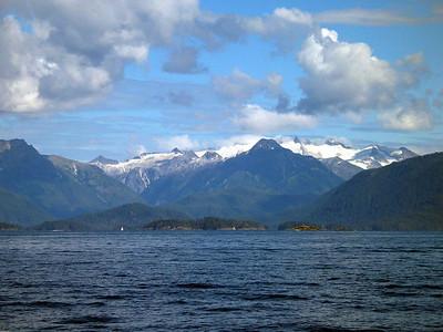View of Mountains on Baranof Island as ADAGIO arrives Sitka, Alaska