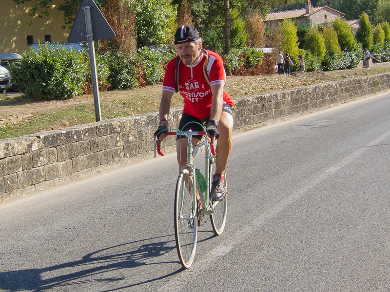 One of L'Eroica bicycle rally finishers