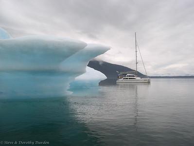 Katie Kat in Glacier Bay, icebergs