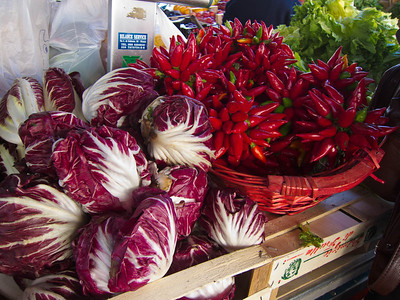Red cabbages and red peppers
