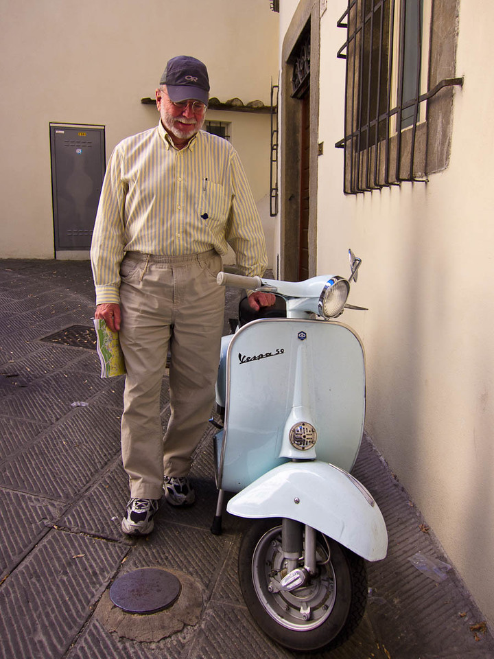 Steve found an old Vespa 50 like his first motorized transport