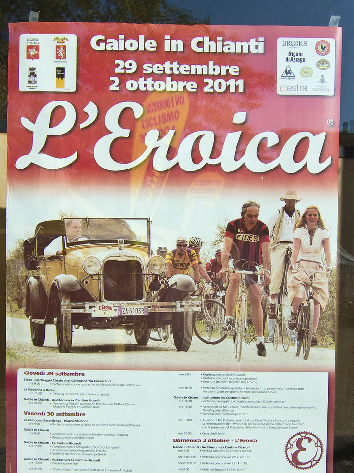 This is the poster for L'Eroica Gaiole in Chianti