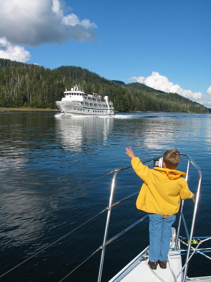 Aug 31, 2004: Alaska - David hails passing cruise ship in Neva Strait