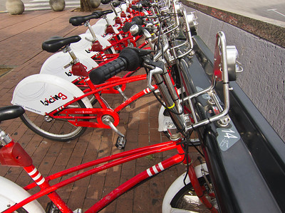 Barcelona: The Bicing rack at Port Vell loaded with about 40 bikes