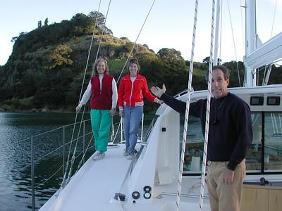 July, 2000: Dorothy, Susan Goodall, and David Radtke aboard Adagio for sea trials to Whangaroa NZ.