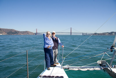 Dorothy and Steve aboard ADAGIO as she approaches the Golden Gate Bridge, after our passage south from Victoria, Canada