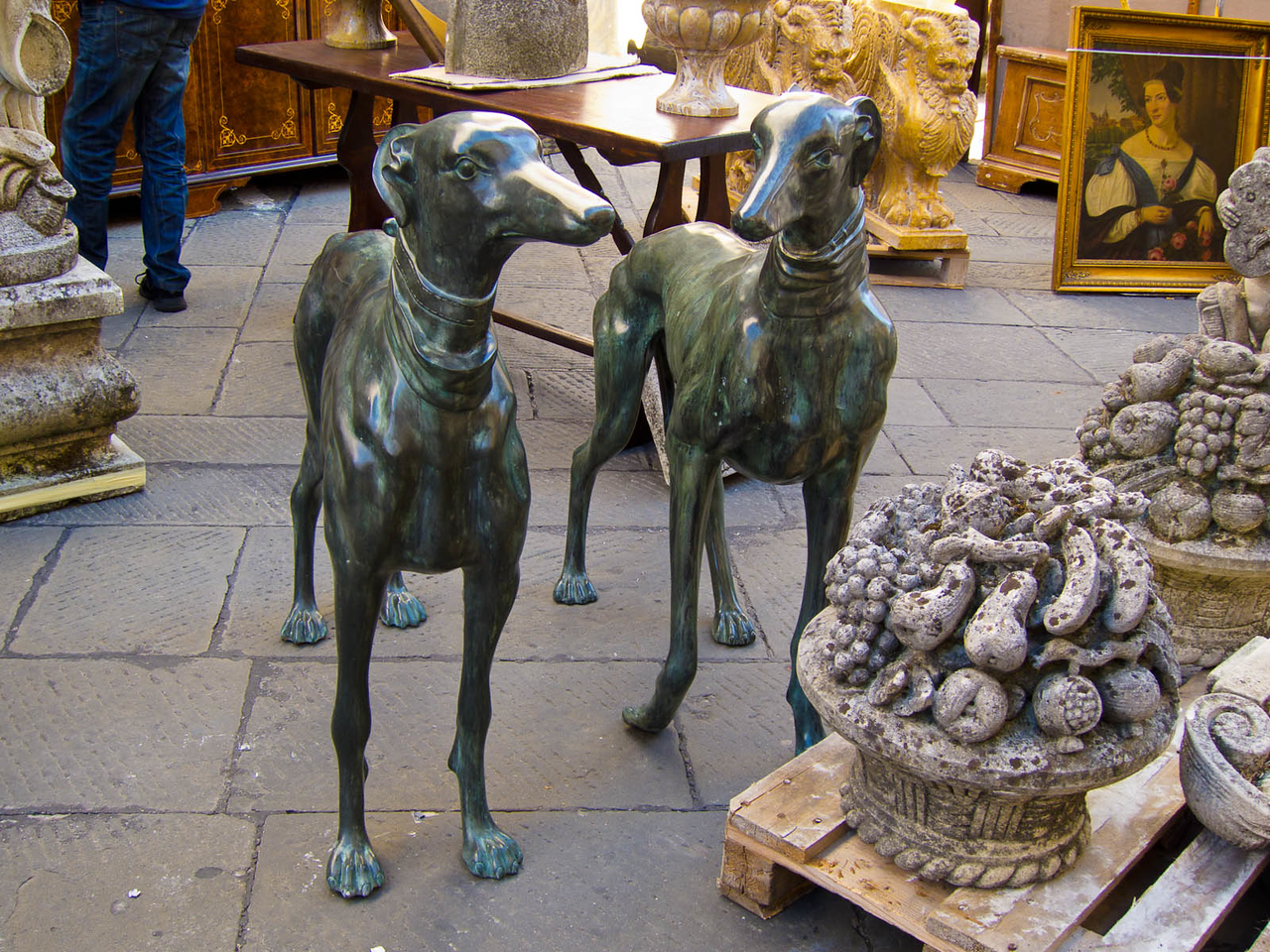 Two beautiful dogs for sale at the antiques fair.